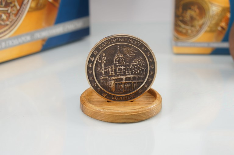 Медальон бронзовый  Каменный мост г.Воронеж Сувнир из Воронежа