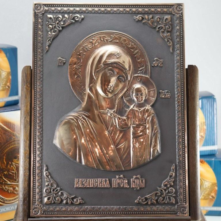 Казанская икона Божией Матери Икона, Колокол, Сувенир, Подарок верующему, Подарок православному, Церковная утварь, Уникальные подарки из бронзы